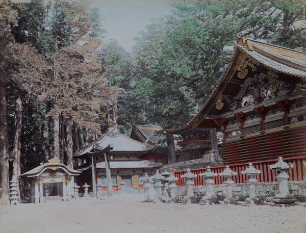 Meiji Era Hand Colored Japanese Albumen Photograph Temples