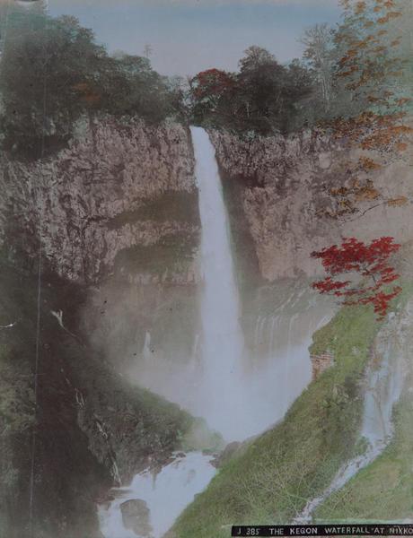Meiji Era Hand Colored Japanese Albumen Photograph J 385 The Kegon Waterfall at Nikko