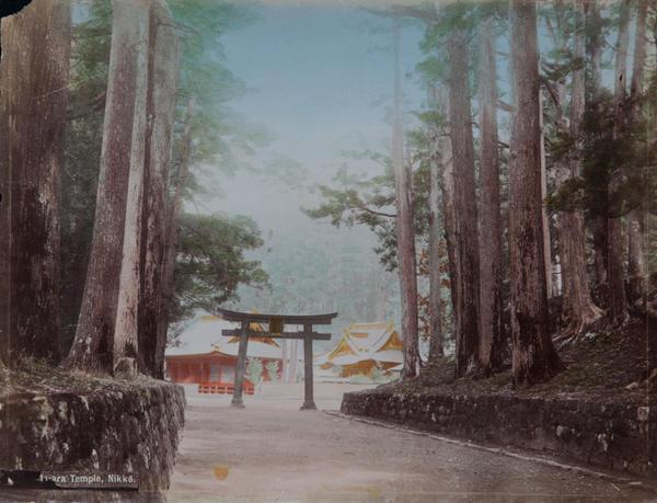 Meiji Era Hand Colored Japanese Albumen Photograph Temple Nikko