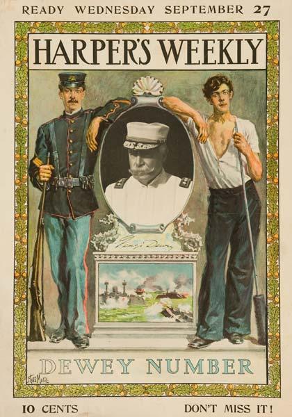 Harper's Weekly Dewey Number Original American Literary Poster