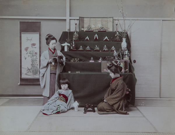 Meiji Era Hand Colored Japanese Albumen Photograph Girls With Ceramic Dolls