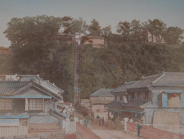 Meiji Era Hand Colored Japanese Albumen Photograph The One Hundred Steps at Yokohama