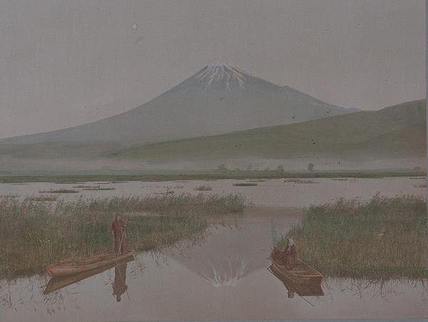 Meiji Era Hand Colored Japanese Albumen Photograph Mt Fuji as Seen From Kashiwarbara