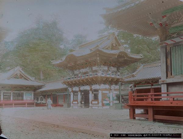 Meiji Era Hand Colored Japanese Albumen Photograph 362 The Yomeimon Gate Shinto Temple