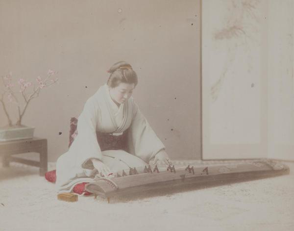 Meiji Era Hand Colored Japanese Albumen Photograph A Koto Player