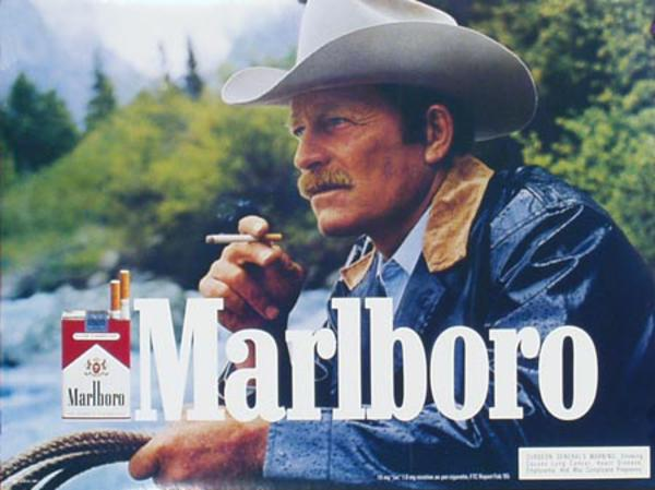 Marlboro Cigarette Cowboy Original Vintage Advertising Poster horizontal blue slicker