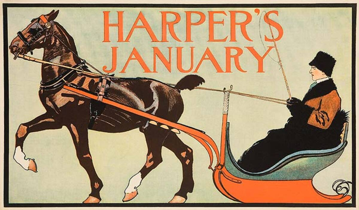 Harper's January Man in Sleigh American Literary Poster