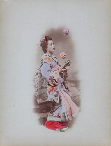 Meiji Era Hand Colored Japanese Albumen Photograph Juggler