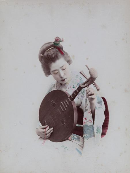 Meiji Era Hand Colored Japanese Albumen Photograph Woman Playing a Biwa