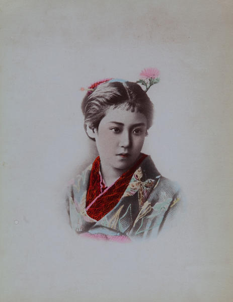 Meiji Era Hand Colored Japanese Albumen Photograph Portrait of a Woman