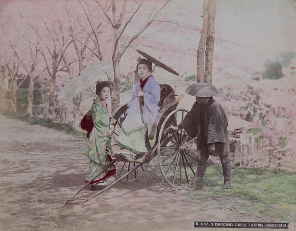 Meiji Era Hand Colored Japanese Albumen Photograph B1167   2 Dancing Girls Taking Jinrikisha