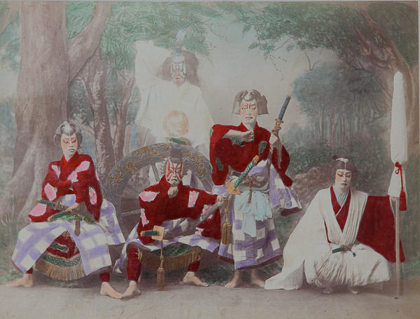 Meiji Era Hand Colored Japanese Albumen Photograph Theatrical Performers