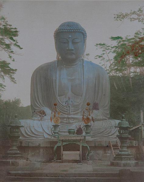 Meiji Era Hand Colored Japanese Albumen Photograph The Bronze Buddha of Kamakura