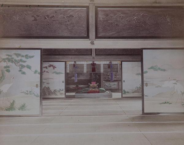 Meiji Era Hand Colored Japanese Albumen Photograph Interior of a Nobelman's Palace