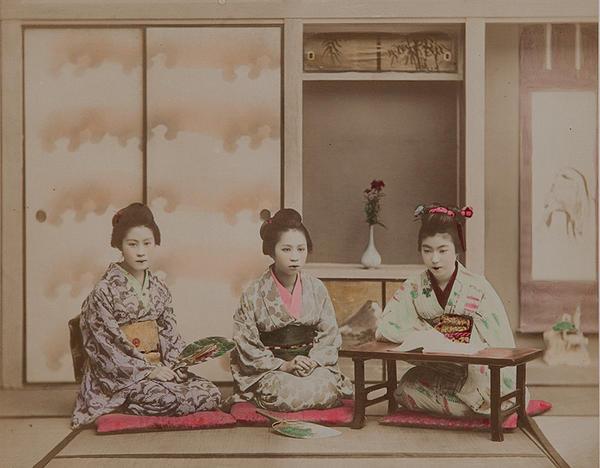 Meiji Era Hand Colored Japanese Albumen Photograph Teaching Songs
