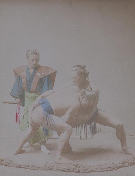Meiji Era Hand Colored Japanese Albumen Photograph Wrestlers