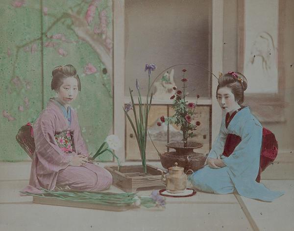 Meiji Era Hand Colored Japanese Albumen Photograph Arranging Flowers