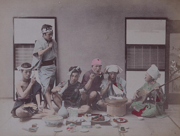 Meiji Era Hand Colored Japanese Albumen Photograph Workmen's Holiday