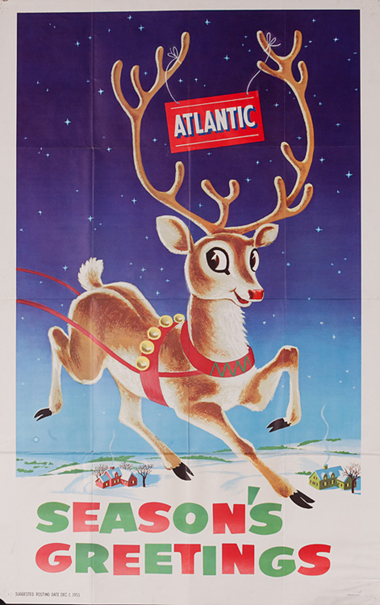 Season's Greetings Original Atlantic Oil Reindeer Poster
