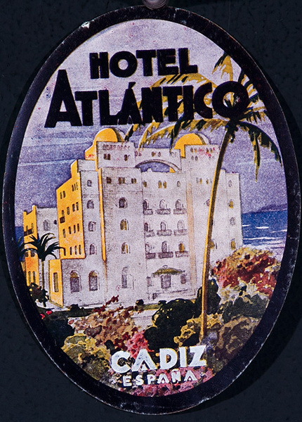 Hotel Atlantico Cadiz Spain Original Luggage Label