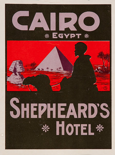Cairo Egypt Shepheard's Hotel Luggage Label