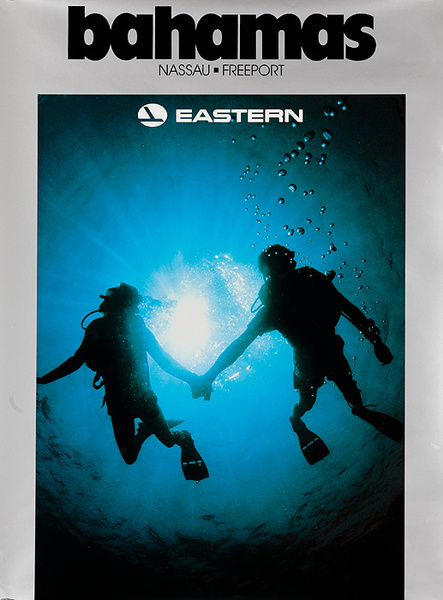 Bahamas Eastern Airline Travel Poster Scuba Divers