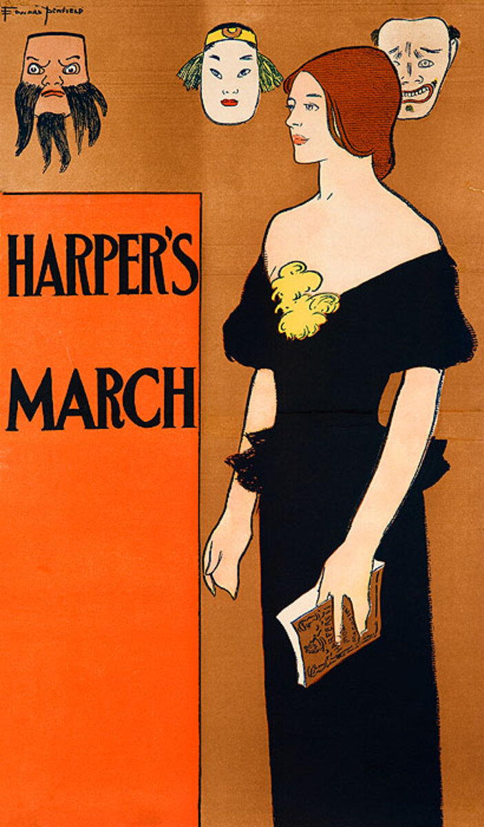 Harper's March Original American Literary Poster, woman with masks