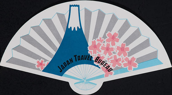 Japan Travel Bureau Original Die Cut Luggage Label Mt Fuji Fan