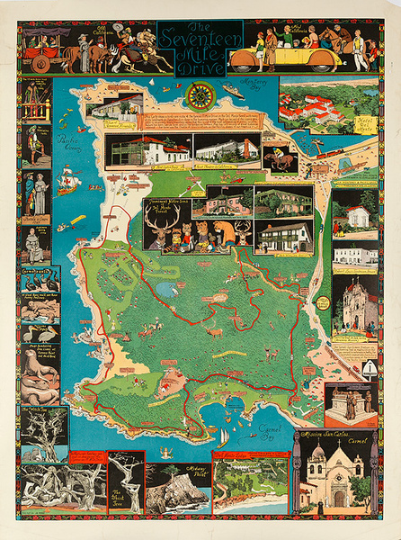 The Seventeen Mile Drive Original Jo Mora California Travel Map Carte Poster