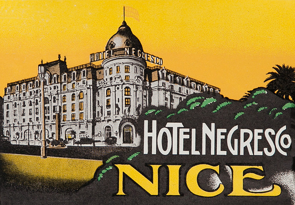Hotel Negresco Nice Original French Luggage Label