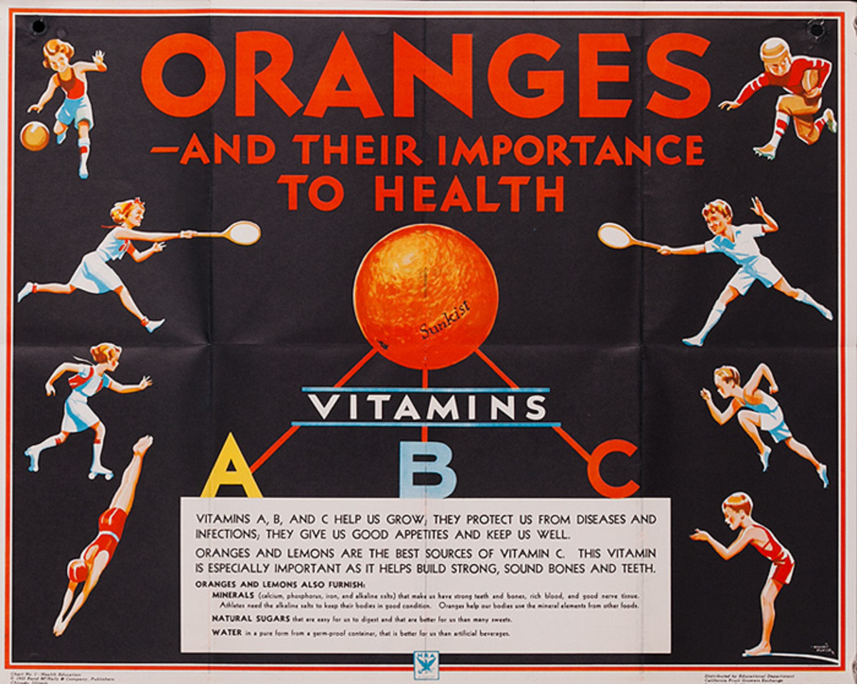 Oranges and Their Importance to Health Vitamins A B C Original Education Poster