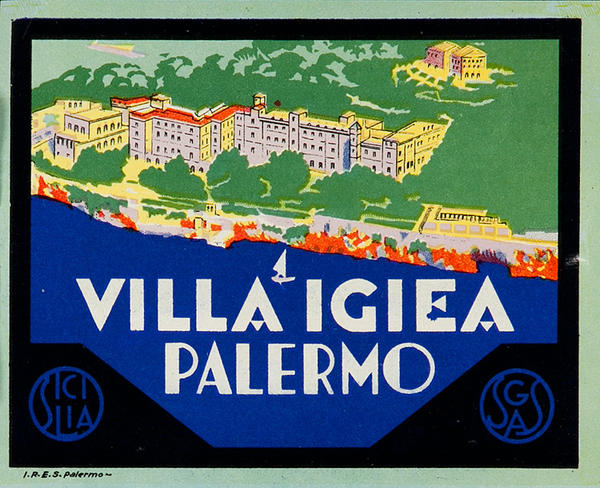 Villa Igiea Palermo Italy Original Luggage Label
