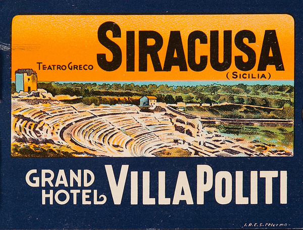 Siracusa Sicily Italy Grand Hotel Villa Politi Original Luggage Label