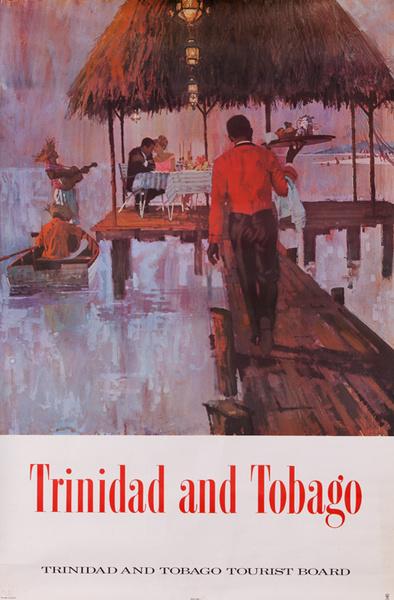 Original Trinidad and Tobago Travel Poster waiter