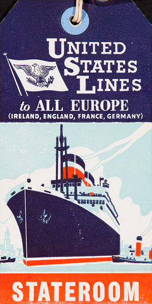 US Lines to All Europe Stateromm Luggage Tag