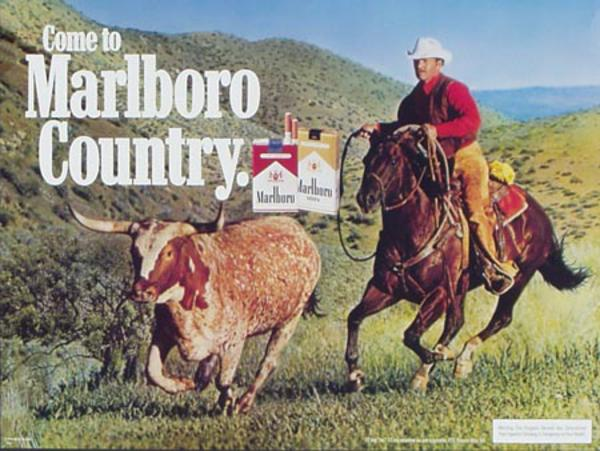 Marlboro Cigarette Cowboy Steer Roping Original Vintage Advertising Poster