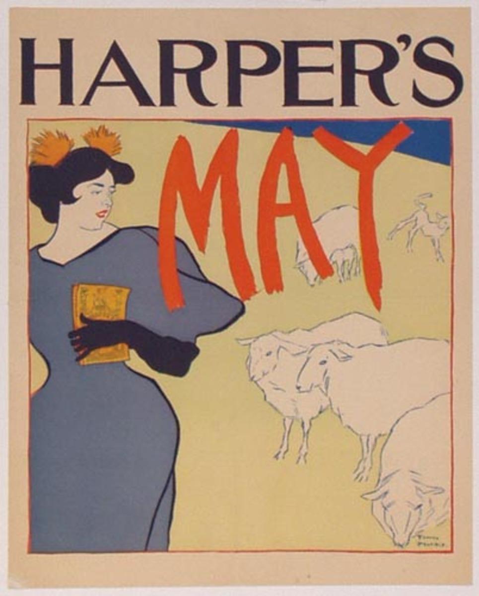 Harper's May 1895 Sheep Original Vintage Literary Poster