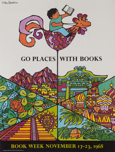 Go Places With Books, Original 1968 Children's Book Week Poster