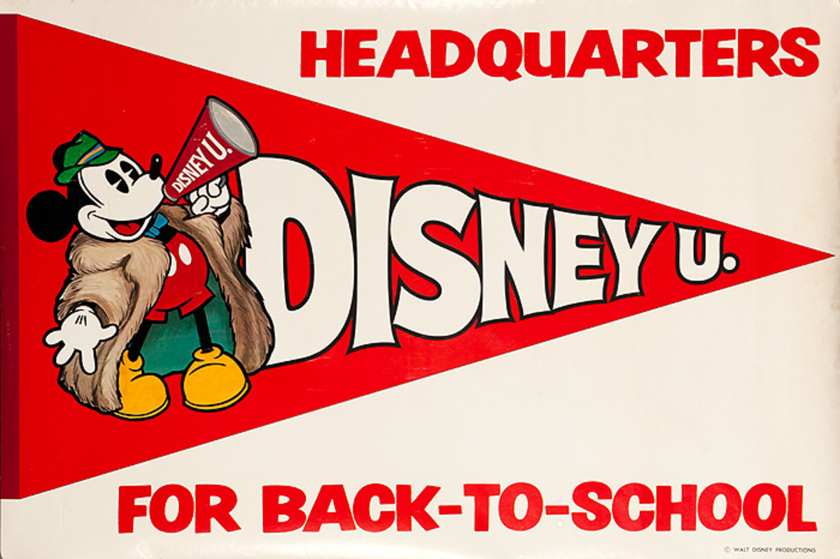 Original Disney Mickey Mouse Back to School Poster