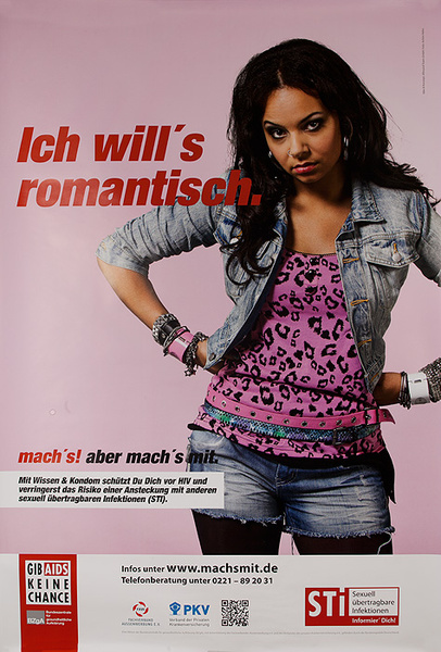 German AIDs Health Poster I Want Romance