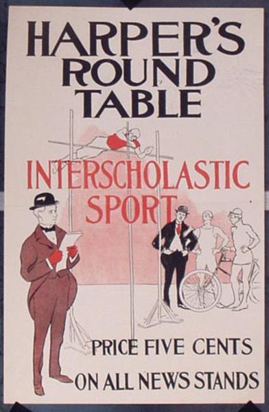 Harper's Round Table Interscholastic Sports Original Vintage Literary Poster