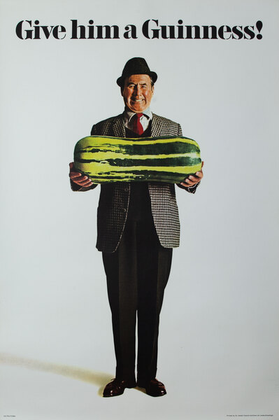 Give Him A Guinness! Original British Beer Adverising Poster Man With a Pickle