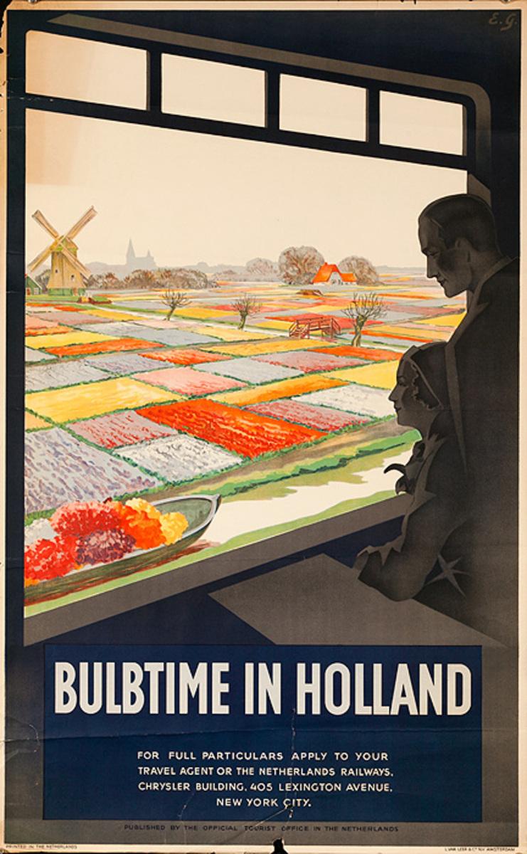 Holland Original Vintage Travel Poster Bulbtime Black
