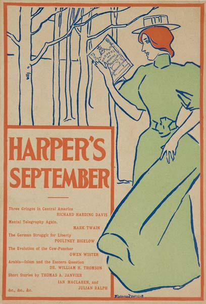 Harper's September 1895 Original American Literary Poster Woman with Red Hair