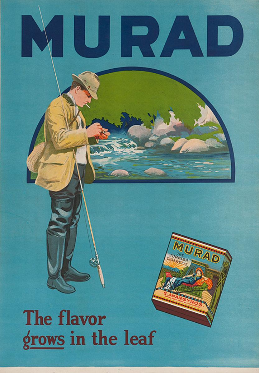 Murad Turkish Tobacco Original American Advertising Poster Fly Fisherman
