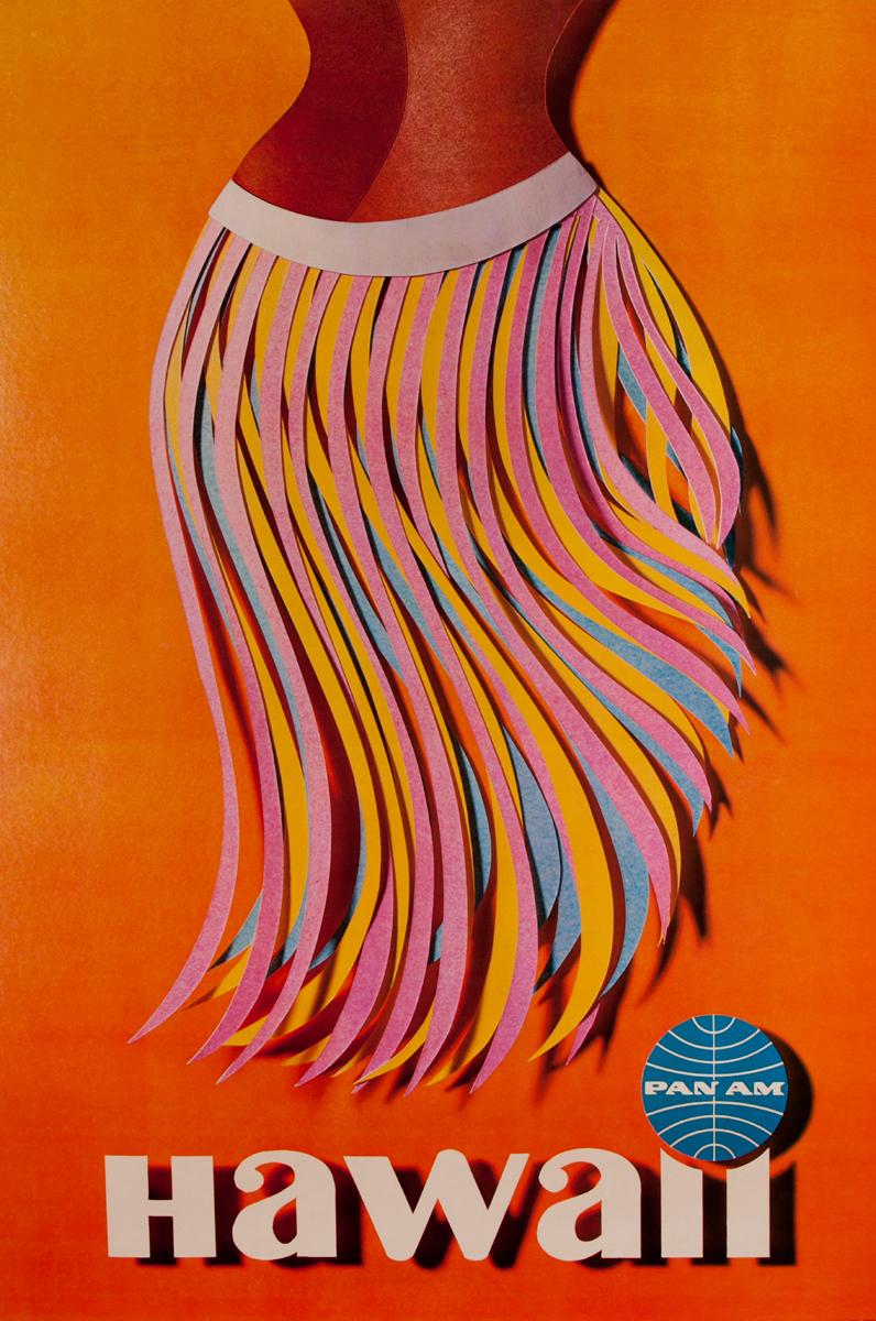 Original Pan Am Travel Poster Hawaiian Hula Skirt