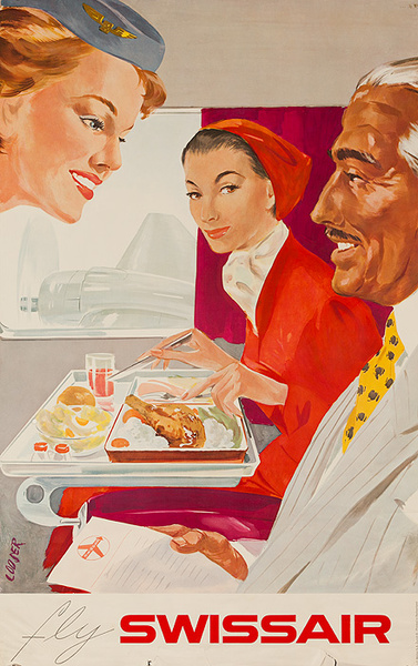 Original Swissair Travel Poster, Inflight Dining