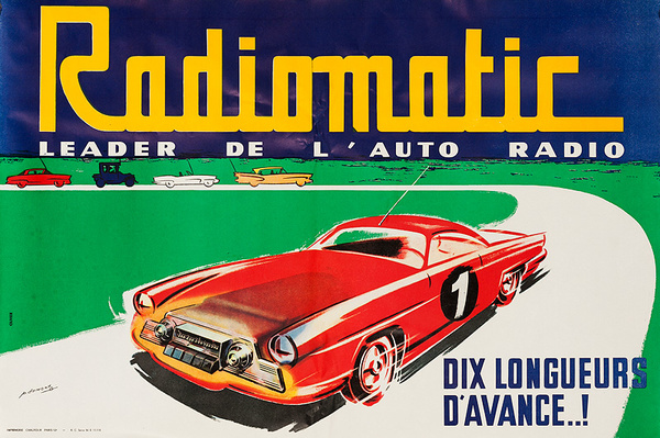 Radiomatic The Leader In Auto Radios, Original French Automotive Advertising Poster