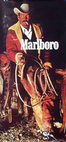 Marlboro Cigarette Cowboy Original Vintage Advertising Poster Huge vertical  poster