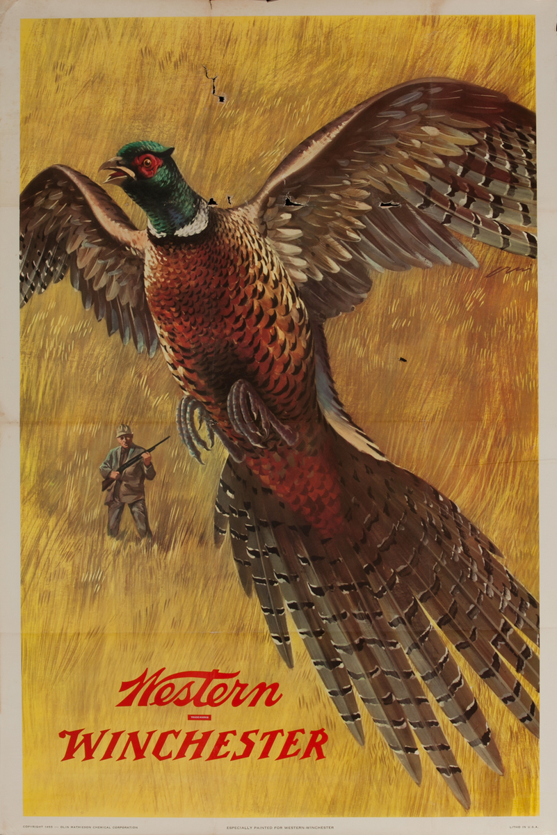 Western Winchester Original American Hunting Rifle Ammunition Advertising Poster
